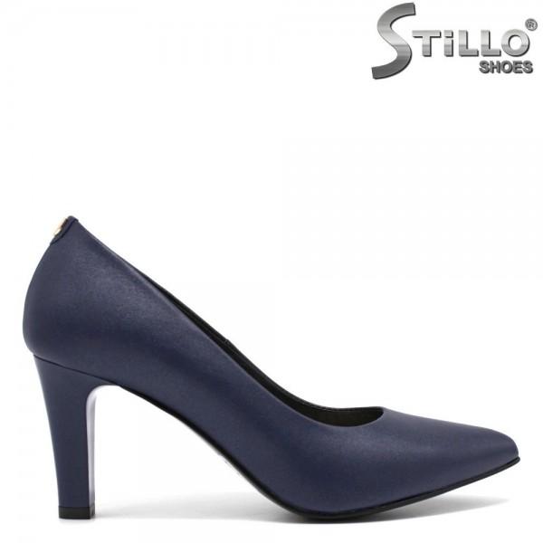 Pantofi din piele naturala de culoare albastru - 30265