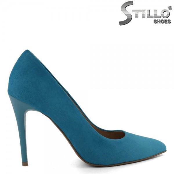 Pantofi eleganti din velur natural de culoare turcoaz - 30277