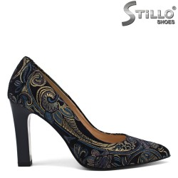 Pantofi din velur natural de culoare albastru - 30278