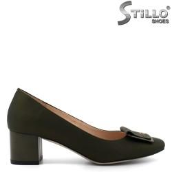 Pantofi de culoare verde din piele naturala cu toc mijlociu-30281