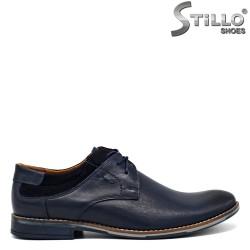 Pantofi barbatesti din piele si velur de culoare albastru - 30286