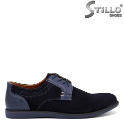 Pantofi barbatesti din velur de culoare albastru inchis - 30287