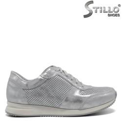 Pantofi din piele naturala argintie- 30289