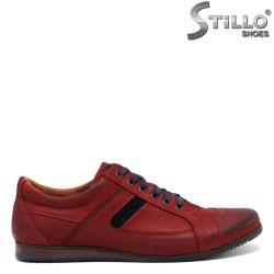 Pantofi eleganti din piele de culoare bordo - 30291