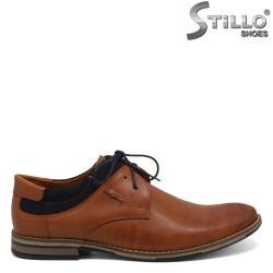 Pantofi barbatesti din piele si velur de culoare maron - 30293
