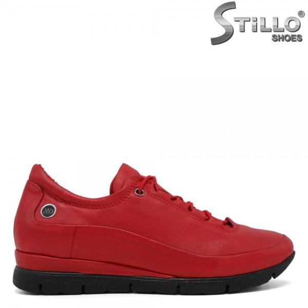 Pantofi casual dama rosu cu sireturi - 30313