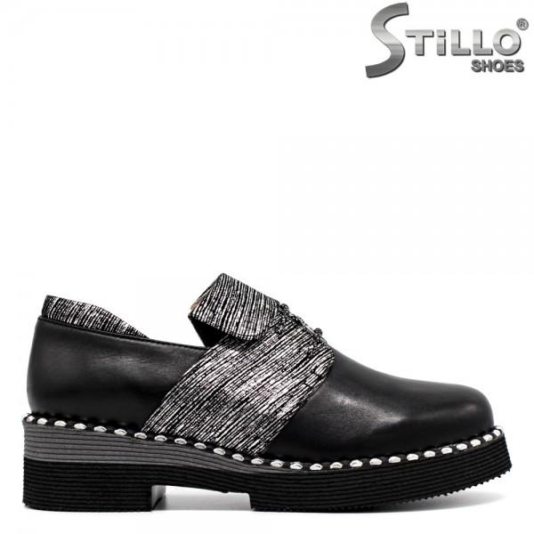 Pantofi din piele naturala de culoare argintiu-negru - 30324