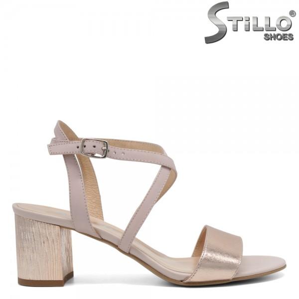 Sandale piele bej cu toc mijlociu - 30344