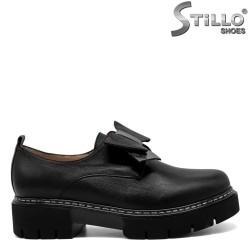 Pantofi de dama cu funda argintiu-negru - 30365