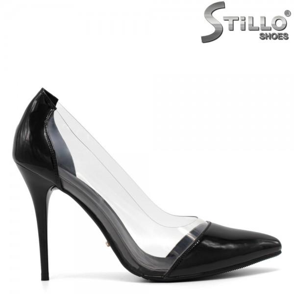 Sandale de dama elegante din lac de culoare negru- 30384