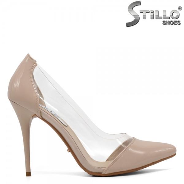 Pantofi de dama eleganti din lac de culoare bej - 30385