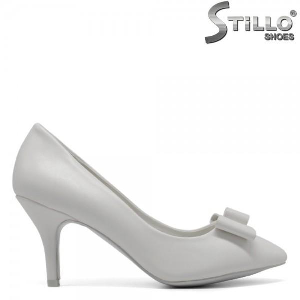 Pantofi de mireasa de culoare alb cu toc subtire - 30387