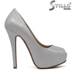 Pantofi de dama cu partea din fata decupata de culoare argintii - 30389