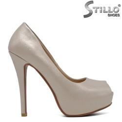 Pantofi dama culoare sampanie cu toc inalt - 30405