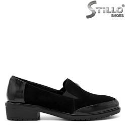 Pantofi de dama din velur de culoare negru - 30407