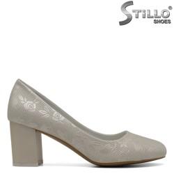 Pantofi pentru nunta cu stampa aurie si flori - 30413