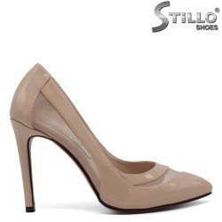 Pantofi de culoare bej cu toc inalt- 30416