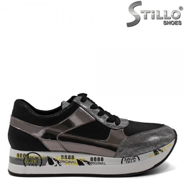 Pantofi de dama tip sport de culoare negru si argintiu - 30428