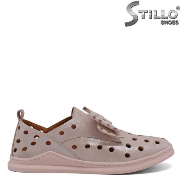 Pantofi sport pudra sidef cu perforatie - 30434