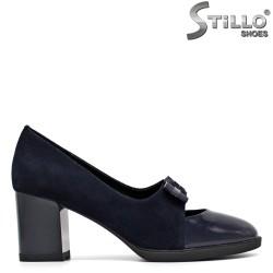 Pantofi din velur de culoare albastru - 30442