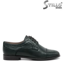 Pantofi Oxford din piele naturala de culoare verde inchis - 30448