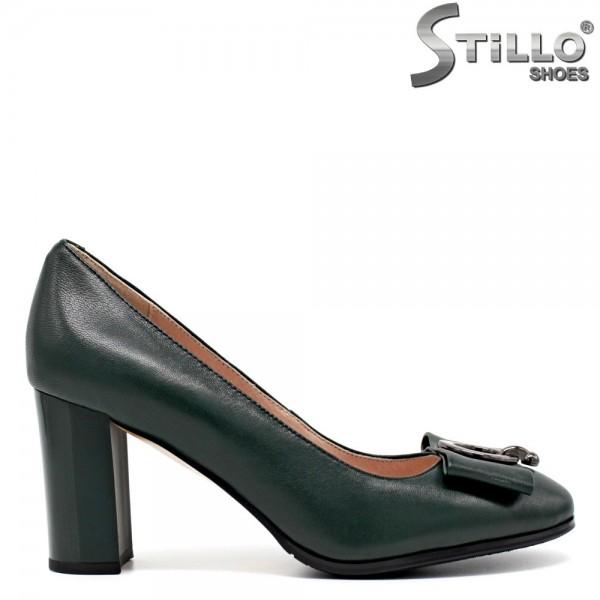 Pantofi de dama de culoare verde cu toc inalt - 30449