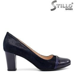 Pantofi de dama eleganti din velur de culoare albastru - 30453