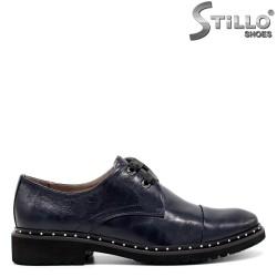 Pantofi Oxford din piele naturala de culoare albastru cu capse - 30454