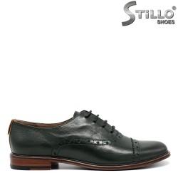 Pantofi Oxford din piele de culoare verde cu toc mic - 30460