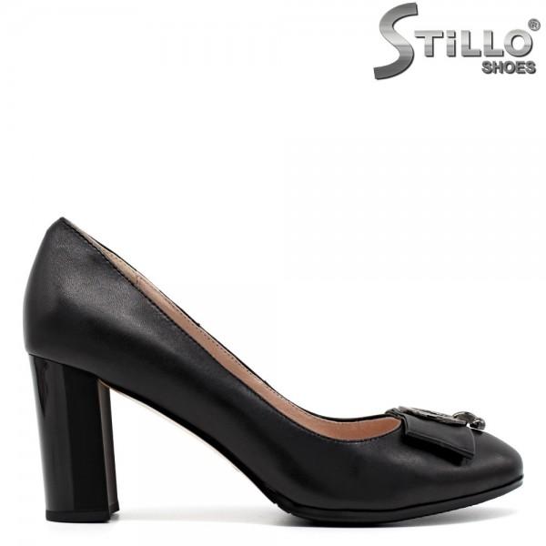 Pantofi de dama din piele cu funda din piele - 30463