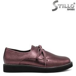 Pantofi dama culoarea  vinului din piele cu sireturi  - 30466