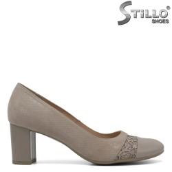 Pantofi din velur de culoare bej cu aplicatii /marimi de la nr 34 - 30498