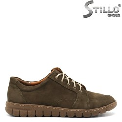Pantofi de dama din velur cu sireturi - 30501