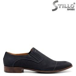 Pantofi din nabuc de culoare albastru si cu sireturi - 30508