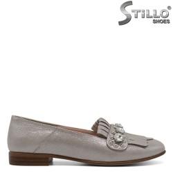 Pantofi de dama argintiu  perlat cu toc mic - 30539