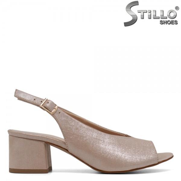 Sandale de dama de culoare bej perlat cu toc - 30557
