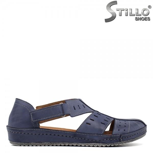 Pantofi de vara ortopedici din piele naturala de culoare albastru - 30561