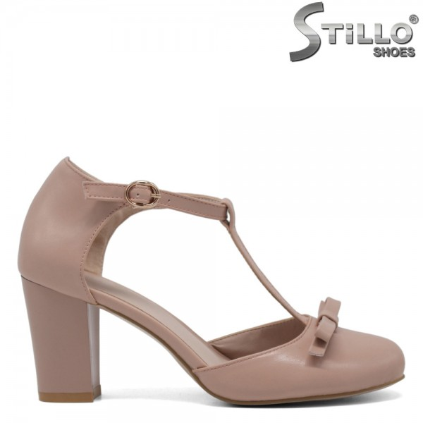 Pantofi de vara roz cu funda si toc inalt - 30578