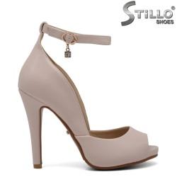 Pantofi bej cu toc inalt - 30584