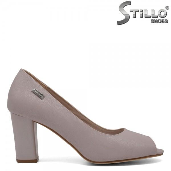 Pantofi roz perlat cu toc inalt - 30585