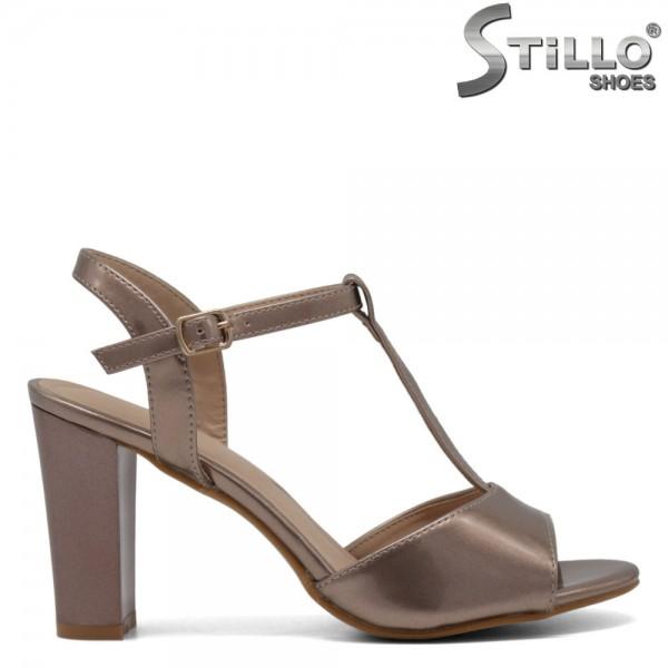 Sandale dama roz aurii cu toc - 30601