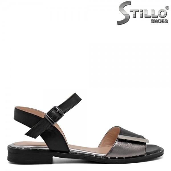 Sandale dama piele cu accesoriu metalic - 30629
