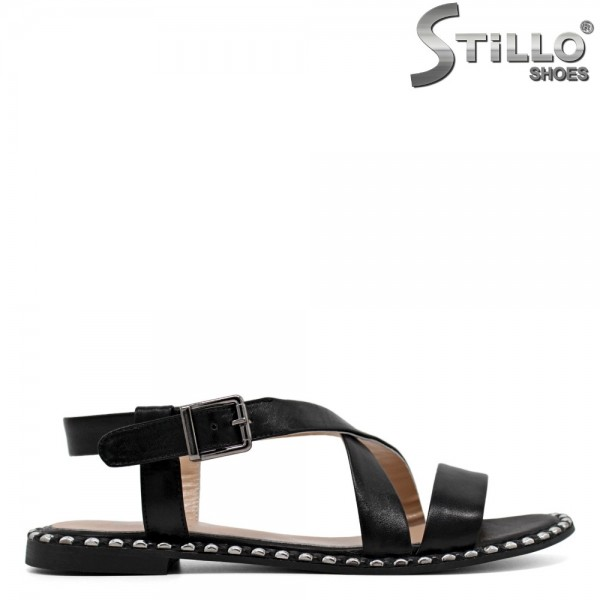 Sandale piele cu capse si toc mic - 30633