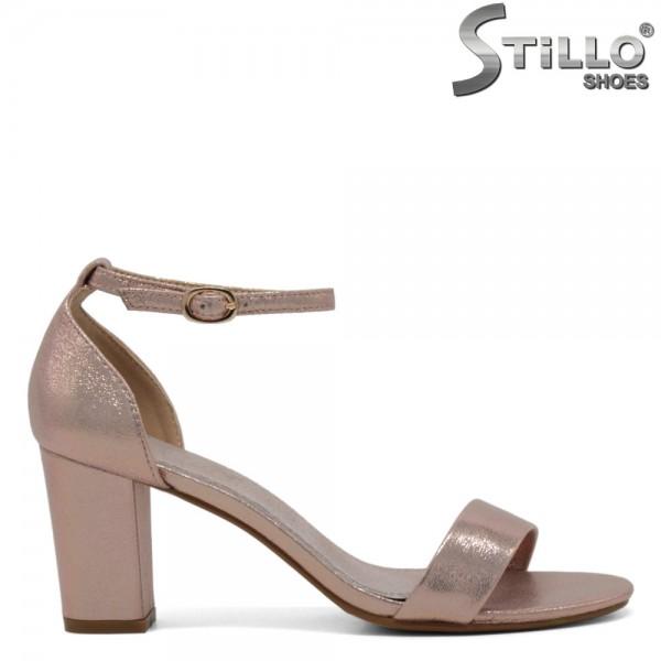 Sandale roz perlat cu toc inalt - 30670
