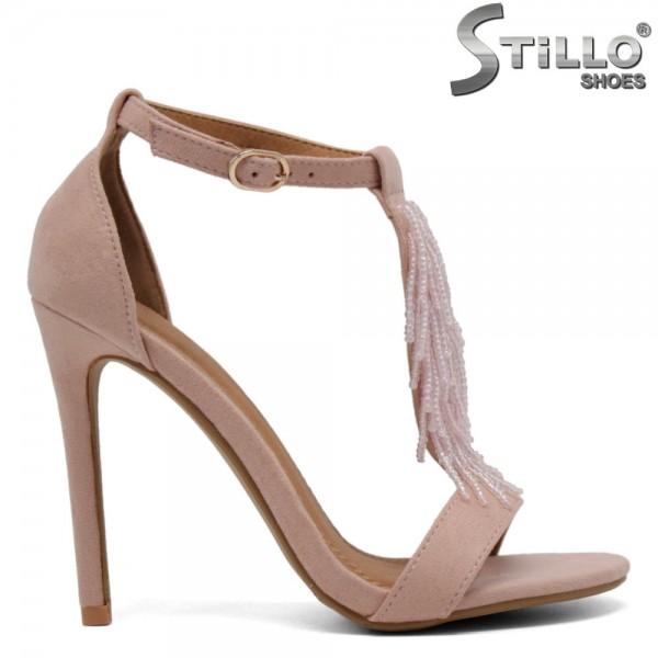 Sandale velur roz cu pietricele - 30685