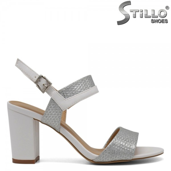 Sandale dama albe si argintiu - 30689