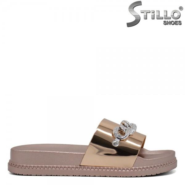 Papuci dama roz aurii cu decoratie metalica - 30691
