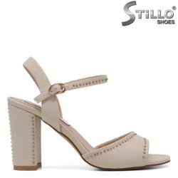 Sandale dama bej cu capse si toc inalt - 30715