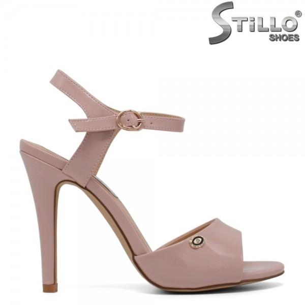 Sandale dama din lac roz cu toc inalt - 30716