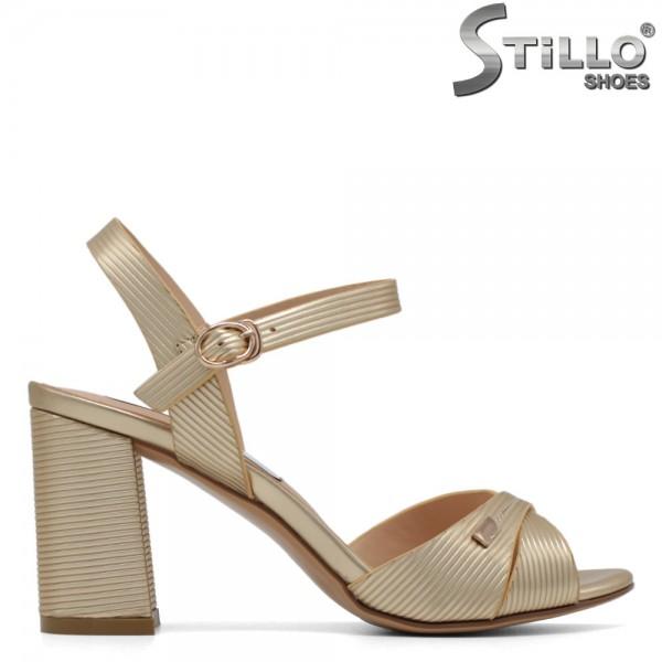 Sandale dama aurii cu toc inalt - 30725